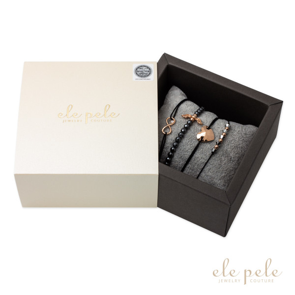 Luxury Fashion Swarovski Set BLACK & ROSE GOLD