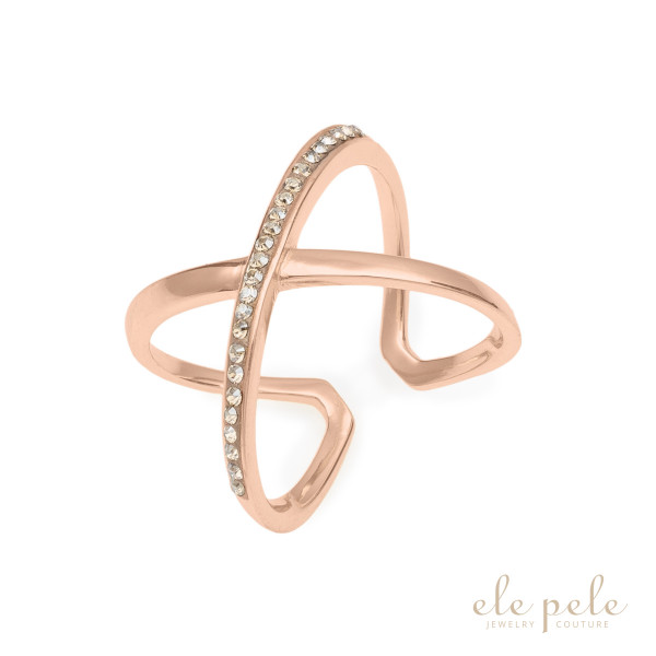 Prsten Crossed Rose Gold
